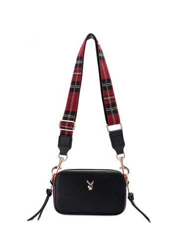 PLAYBOY BUNNY black Compact Saffiano Sling Bag EECB2ACA797651GS_1