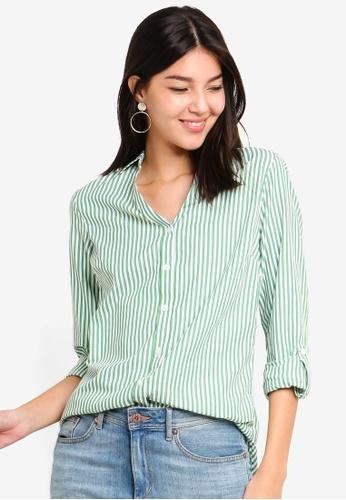 Dorothy Perkins green Green Stripe Cotton Shirt E66FCAA59A4CA6GS_1
