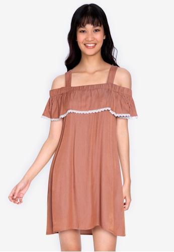 ZALORA BASICS brown Embroidered Cold Shoulder Mini Dress 5D7B6AABD20A63GS_1