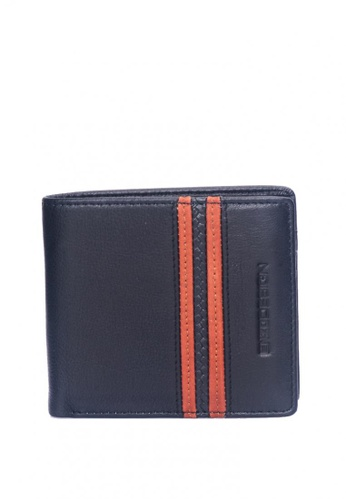 ENZODESIGN black and brown Soft Nappa Slim Bifold With 14 Card slots and Flipover I.D. Windows 5FFC5AC4AFBB35GS_1