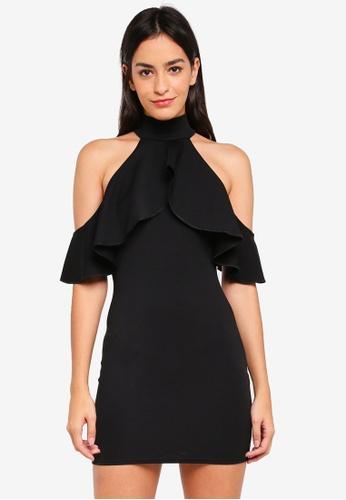 MISSGUIDED black High Neck Frill Cold Shoulder Mini Dress 29542AA7F2D4DEGS_1
