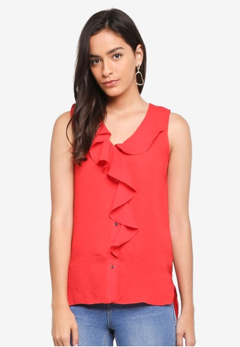 Dorothy Perkins red Red Ruffle Front Sleeveless Shirt FE35FAA39E5988GS_1