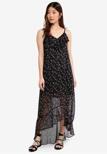 Something Borrowed black Ruffled Dip Hem Cami Maxi Dress F4DC7AA0BC5F5FGS_1