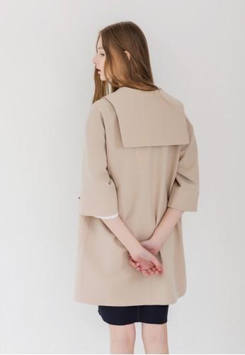 水手風寬版單鈕外套, 服飾,zalora開箱 外套