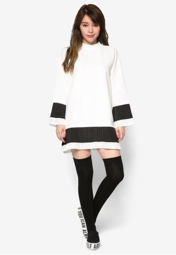 褶飾下擺撞色太空棉連身裙, esprit outlet 台灣服飾, 洋裝