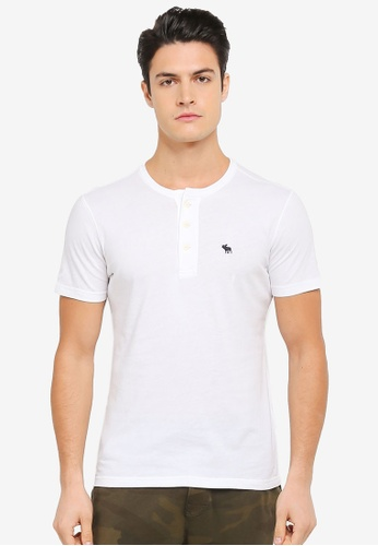 Abercrombie & Fitch white Short Sleeve Icon Henley AB423AA0SV09MY_1
