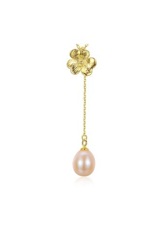 SUNRAIS gold Premium color stone golden flower necklace AD20CACDF2CA95GS_1