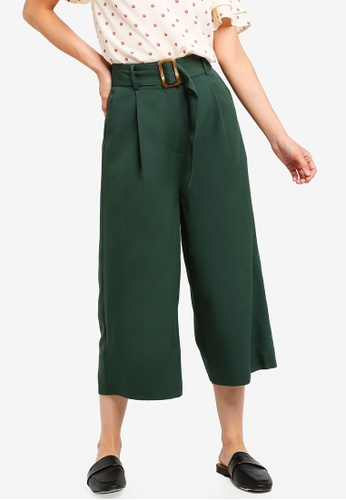 ZALORA BASICS green Basic Belted Cropped Trousers 40320AA86BB654GS_1