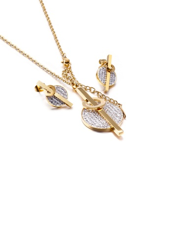 Glamorousky white Simple and Bright Plated Gold Geometric Round 316L Stainless Steel Necklace and Stud Earrings Set with Cubic Zirconia E64E4ACC10F108GS_1