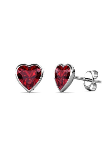 Her Jewellery silver Sweet Stone Earrings (Garnet) -  Made with premium grade crystals from Austria B3287ACD3F84B7GS_1