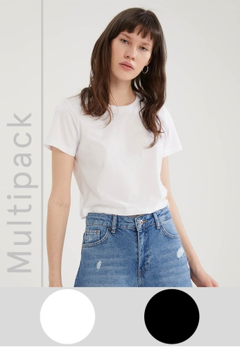 DeFacto white 2-pack Short Sleeve Cotton T-Shirt E75A9AA54BA023GS_1