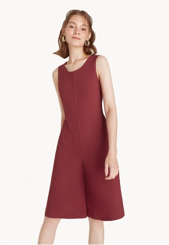 Pomelo red Relaxed Knee Length Sleeveless Jumpsuit - Red 1DCB7AA5EA53E8GS_1