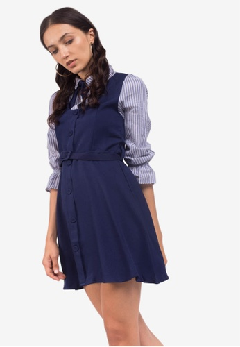 Caoros blue Fit and Flare Shirt Dress 27466AA2534EF5GS_1