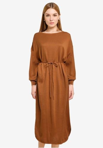 LOWRYS FARM brown Oversized Knitted Midi Dress 49139AAE827AB9GS_1