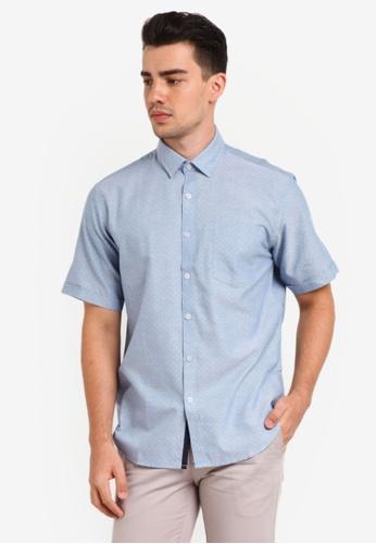 Kent & Crew 藍色 Custom Fit Short Sleeve Shirt KE579AA0RJRIMY_1