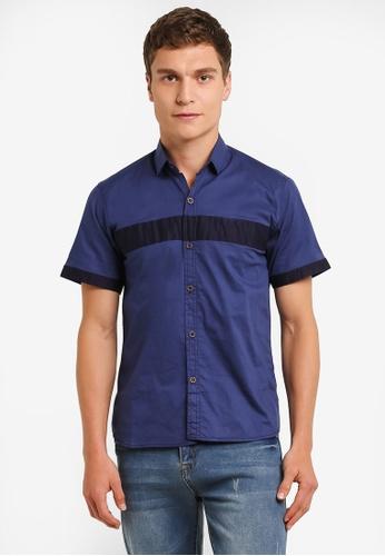 Fidelio 藍色 Sleek Block Short Sleeves Shirt FI826AA0RLWYMY_1