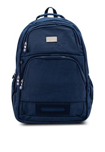 Bagstationz navy Crinkled Nylon Backpack 3DC06ACD83AB5AGS_1