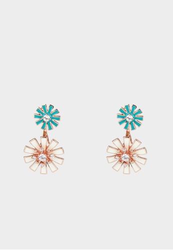Pomelo white Double Flower Diamante Stud Earrings - White 29C62AC2C35C47GS_1