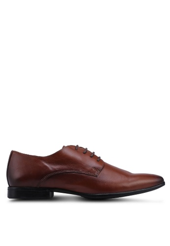 Topman brown Brown Leather Fly Derby Shoes 2AB17SHC8D2D93GS_1