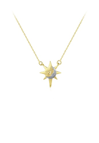 Glamorousky silver 925 Sterling Silver Plated Gold Simple Fashion Star Moon Pendant with Necklace 517B1AC7D507DDGS_1