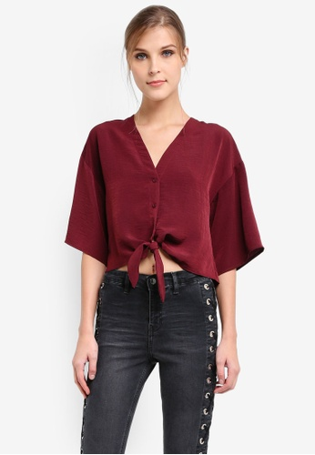 TOPSHOP red Tie Front Shirt TO412AA0SIVHMY_1