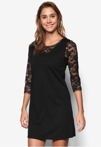 Petite 蕾絲七分袖連身裙、 服飾、 洋裝WallisPetite蕾絲七分袖連身裙最新折價