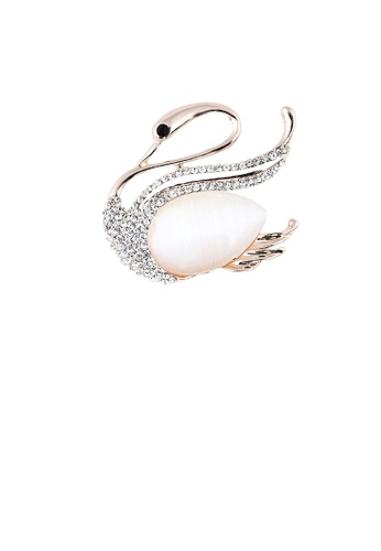 Glamorousky white Fashion and Elegant Plated Gold Swan Opal Brooch with Cubic Zirconia 54CD2ACF7B44E0GS_1