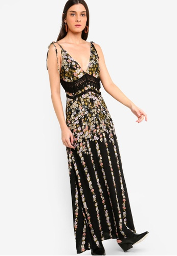 Free People black and multi Claire Printed Maxi Dress B7D66AA68FF267GS_1