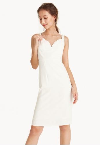 Pomelo white Midi Sweetheart Neck Pearl Accent Dress - White 2C856AA0F09442GS_1