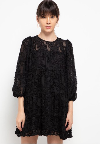 Chic Simple black Long Puff Sleeve Furry Tier Dress 6B53DAA39E52DCGS_1