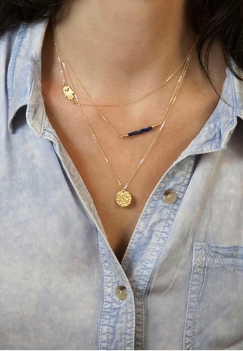 LEUPP gold 3 Layer Necklace with Hamsa TO983AC55PPWPH_1