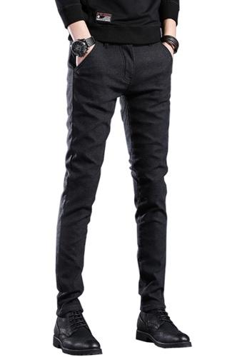 Twenty Eight Shoes black VANSA Simple Slim Velvet Trousers VCM-P505V BEF33AA09A52FBGS_1