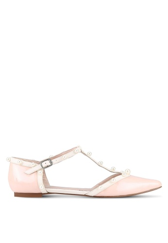 House of Avenues pink Pointy T-Strap Flats HO685SH0RRBKMY_1