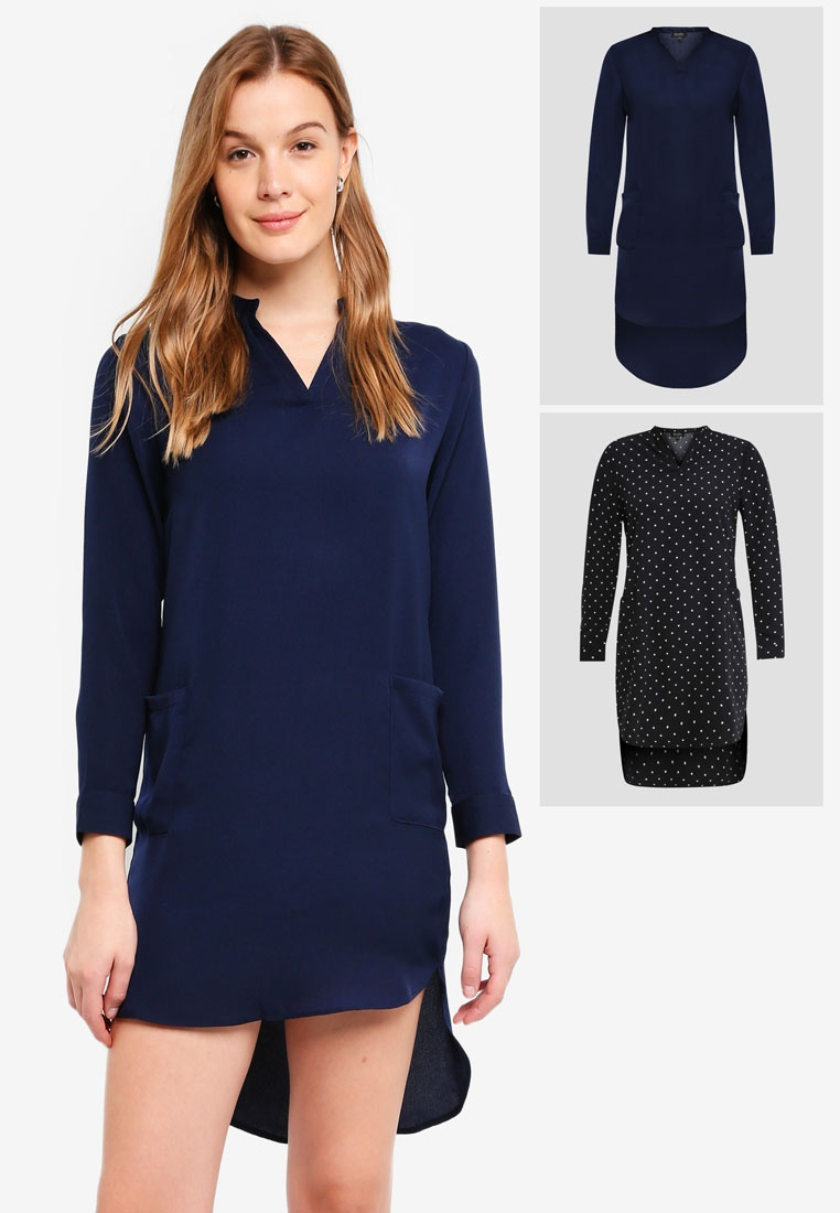 2 With Pack Black ZALORA Pocket BASICS Dot Shirt Navy Dress Polka rwrZt