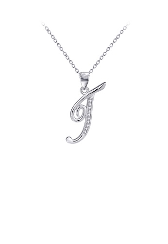 Glamorousky white 925 Sterling Silver Fashion Simple English Alphabet T Pendant with Cubic Zirconia and Necklace 5AA50AC002A5C2GS_1