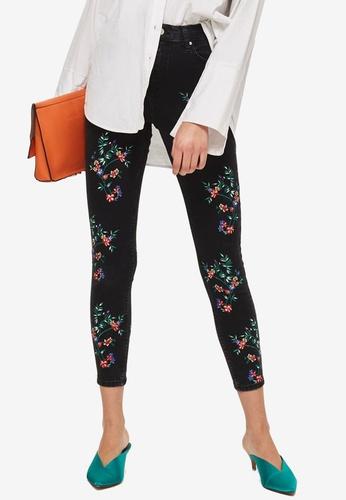 TOPSHOP black Moto Black Floral Embroidered Jamie Jeans C2697AA3EA3778GS_1