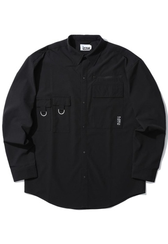 izzue black Flap pocket shirt DBC2FAA0431975GS_1