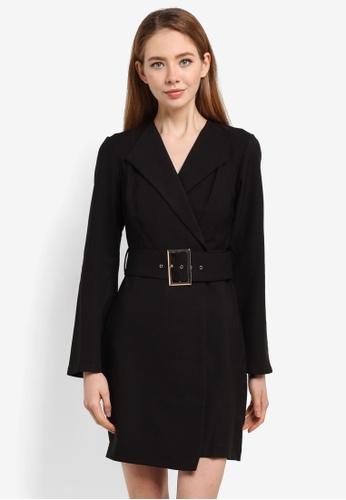 River Island black Belted Tuxedo Mini Dress 07249AAF803B89GS_1