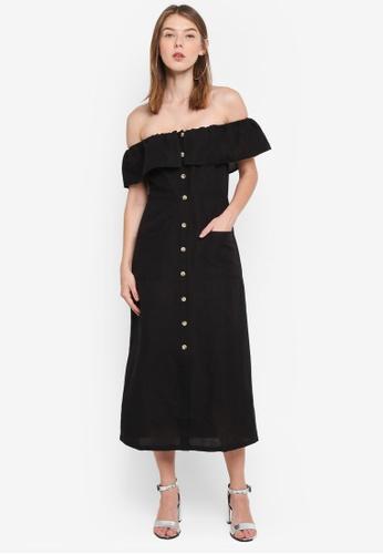 TOPSHOP black Linen Bardot Midi Dress 44CBFAA4B28DD7GS_1