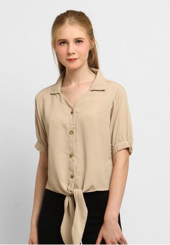 Just Out beige Julissa Middle Tie Blouse 50DC0AAEAD8351GS_1