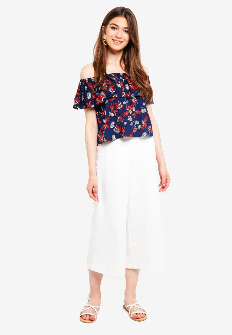 Based Floral Navy Shoulder Layered Off Borrowed Something Top Sw4xqzFanP