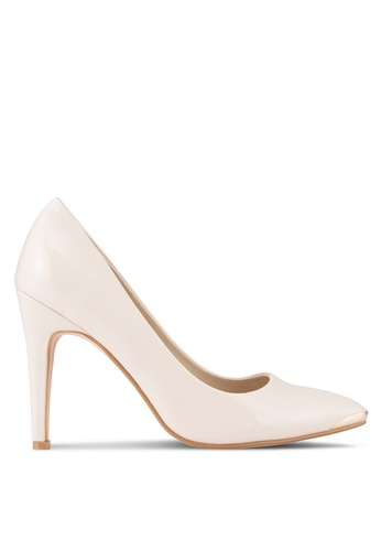 ZALORA beige Patent PU Pumps with Metal Toe Cap E9C36SH7C450BCGS_1