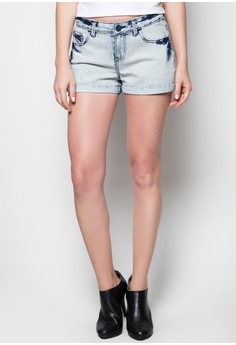 Light Wash Denim Shorts with Tugging