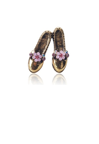 Glamorousky pink Fashion Vintage Plated Gold Flower Shoe Brooch with Cubic Zirconia 13420AC4C7F286GS_1