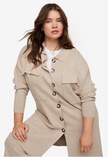 Violeta by MANGO beige Plus Size Button Knit Cardigan 163D8AAA41A773GS_1