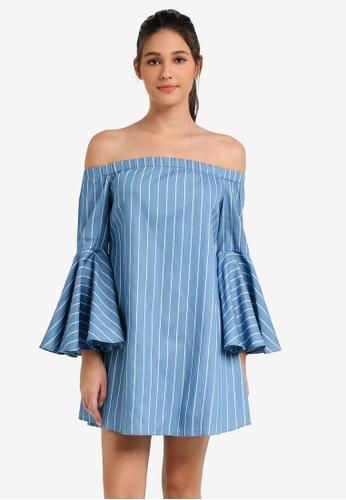 Something Borrowed blue Off Shoulder Flare Sleeve Dress E4825AAA115EA7GS_1