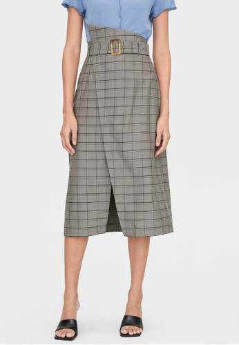 Pomelo grey Plaid Single Slit Skirt - Dark Grey AB4C2AA007009EGS_1