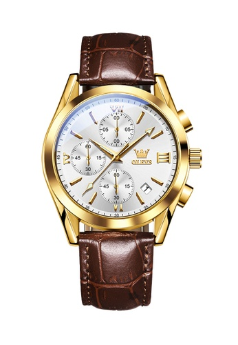 OLEVS brown Olevs Grand Lumino Men Chronograph Wrist Watch ABE13AC510F481GS_1