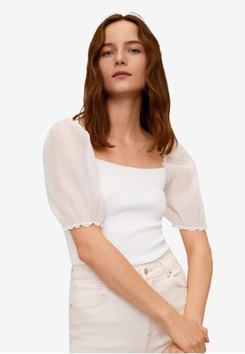 Mango white Puffed Sleeves Knit Top 52EA1AAF7C3DD4GS_1