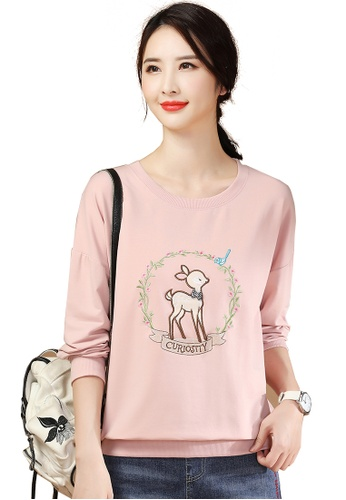 A-IN GIRLS pink Cute Fawn Embroidered Crew Neck T-Shirt 343A1AAAFC57EAGS_1